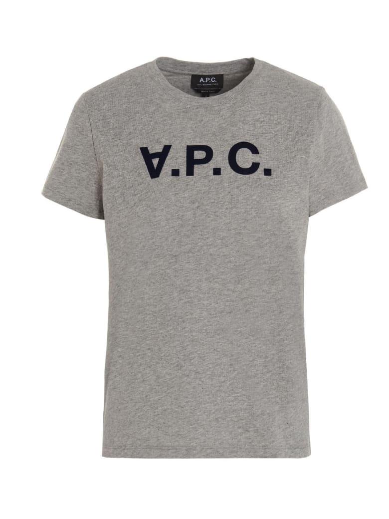 A.P.C. Flocked Logo T-shirt - Grey