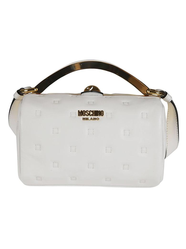Moschino Stitch Detail Twist Top Shoulder Bag - White