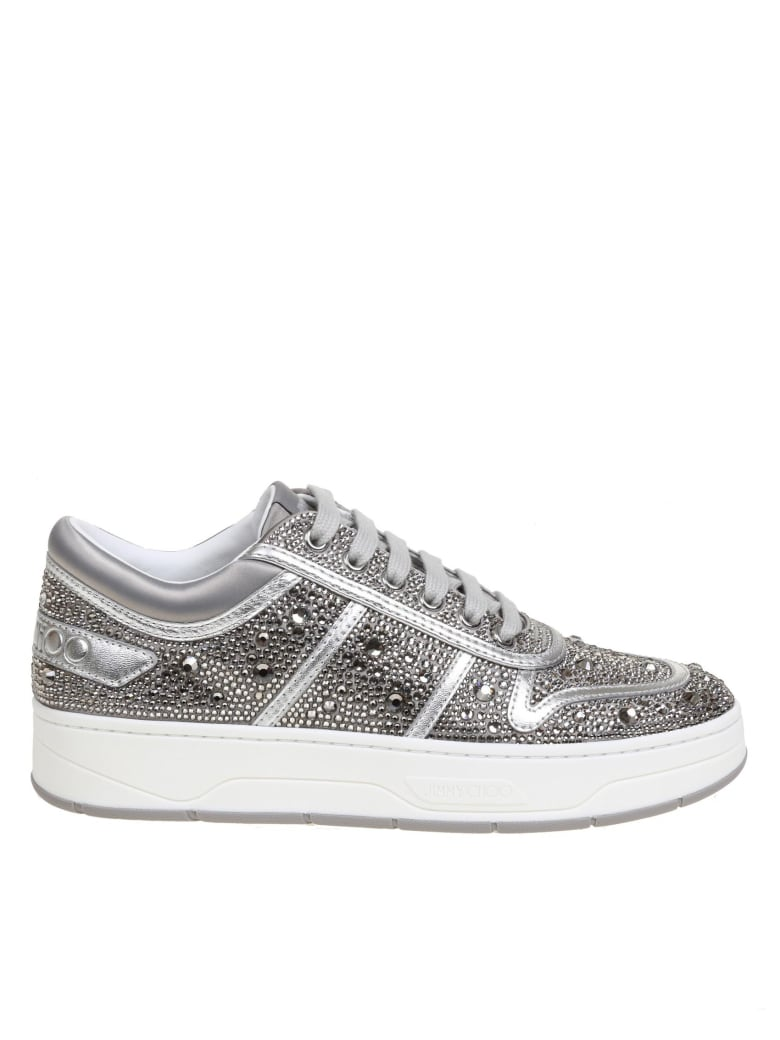 Jimmy Choo Hawaii Sneakers In Satin With Crystals - Silver