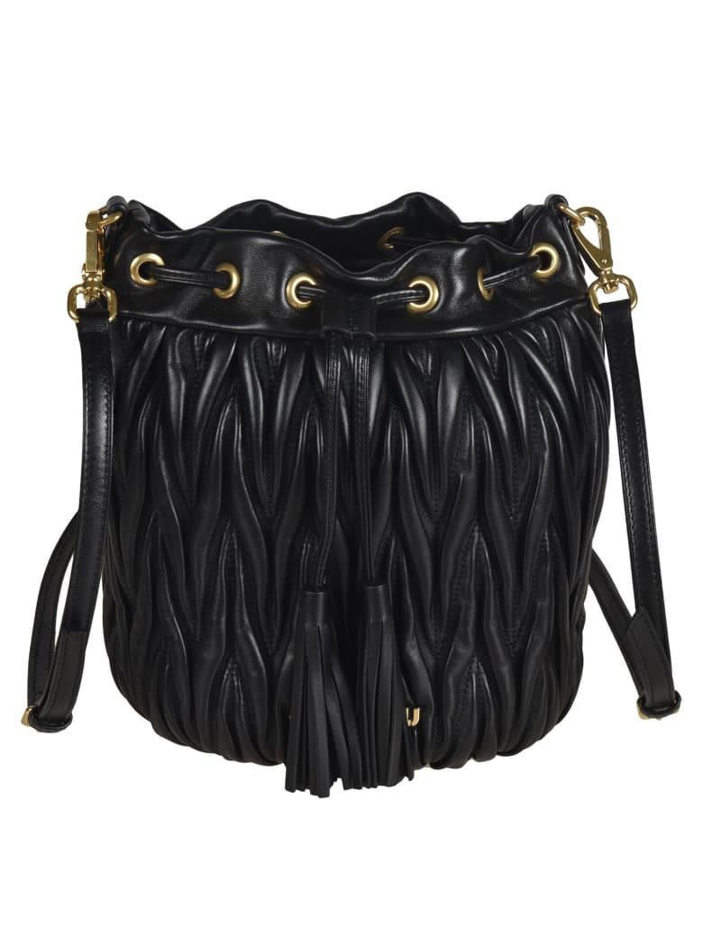 Miu Miu Matelassé Bucket Bag - Black