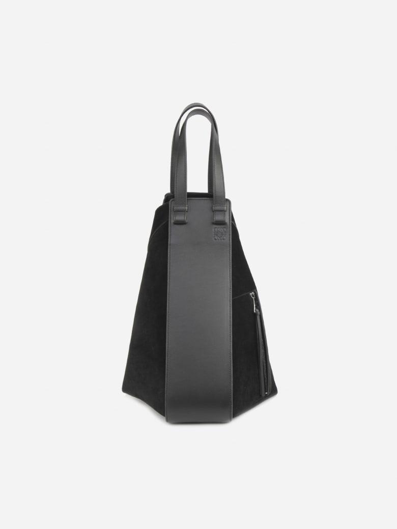Loewe Hammock Tote Black Suede & Leather Bag - Black