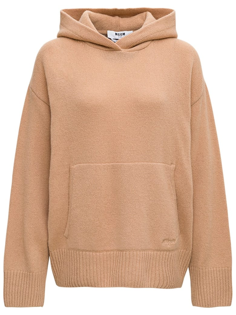 MSGM Camel-colored Wool And Cashmere Hoodie - Beige