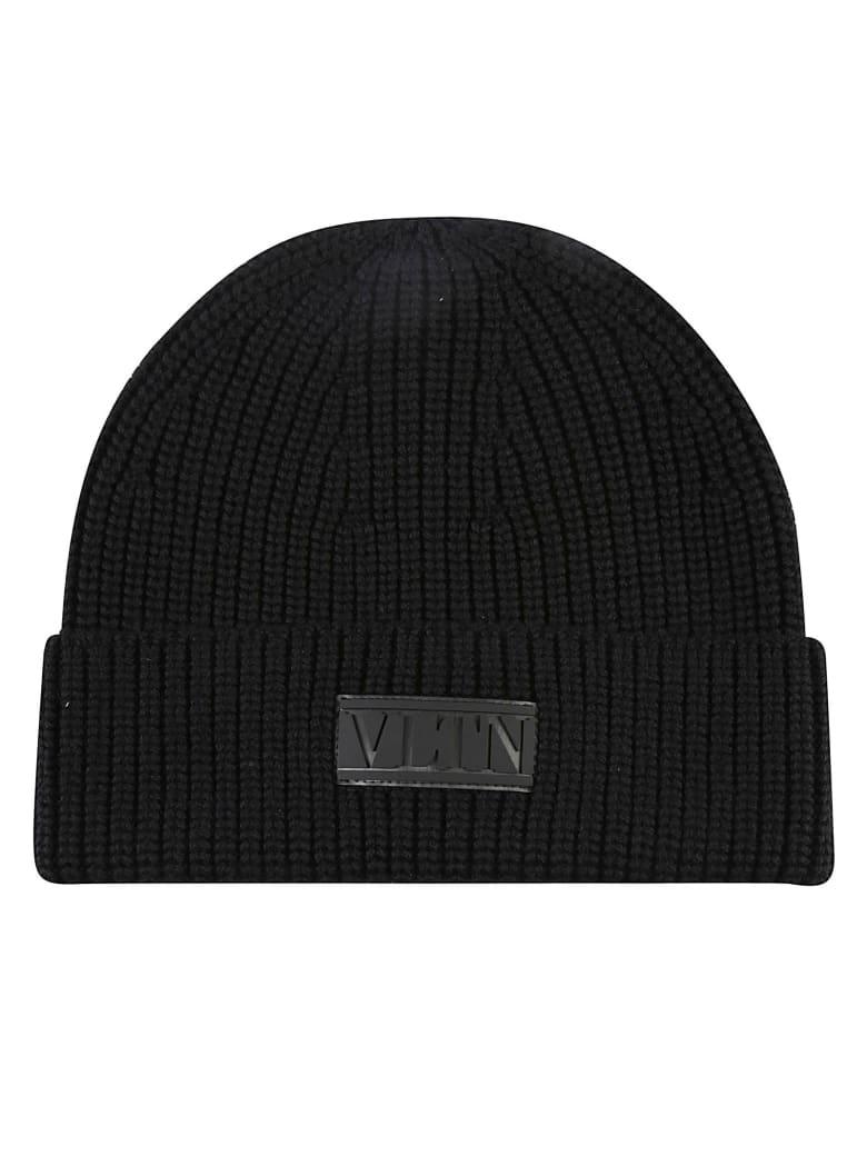 Valentino Garavani Vltn Logo Patched Knit Beanie - Black