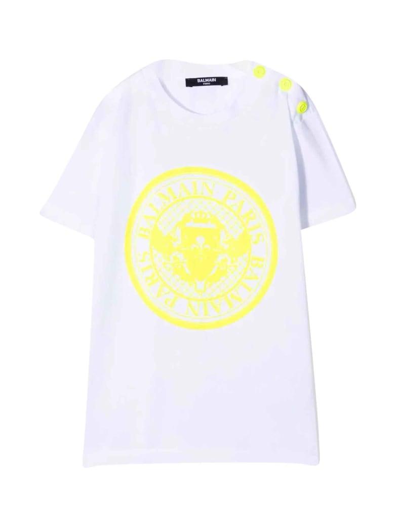 Balmain Unisex White T-shirt - Bianco/giallo