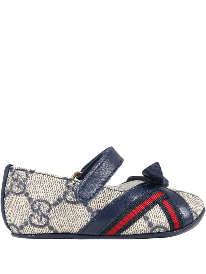 Gucci Beige Ballet-flats For Baby Girl With Logo - Blue