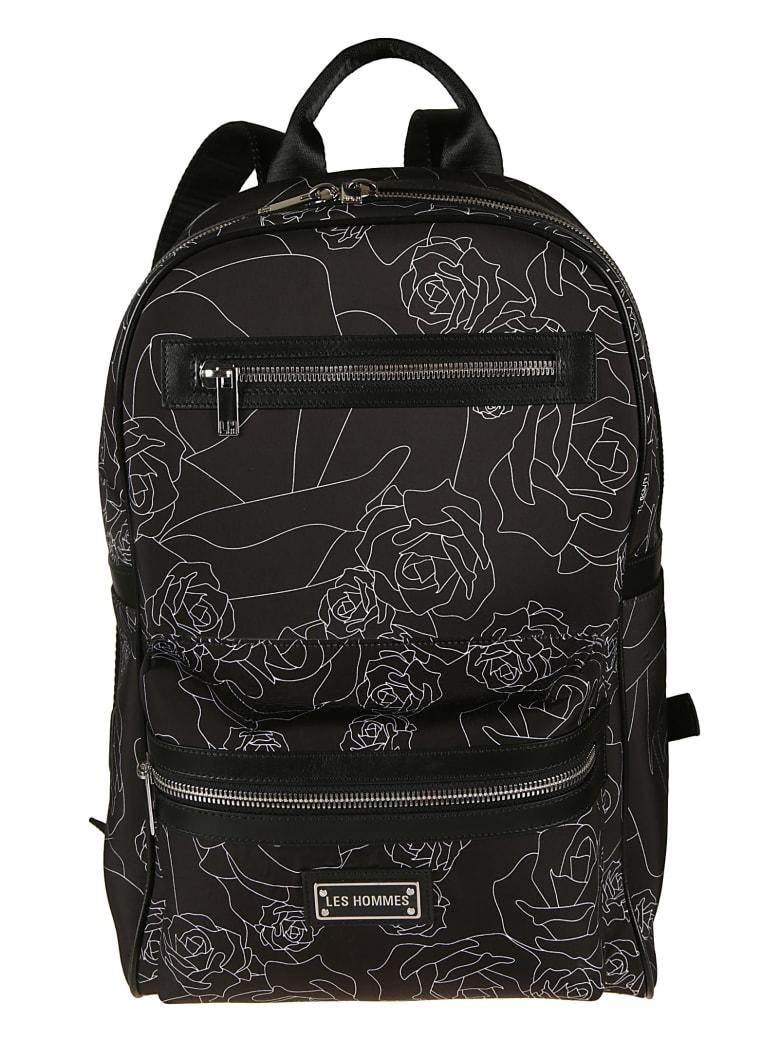 Les Hommes Broken Roses Print Backpack - Black/White