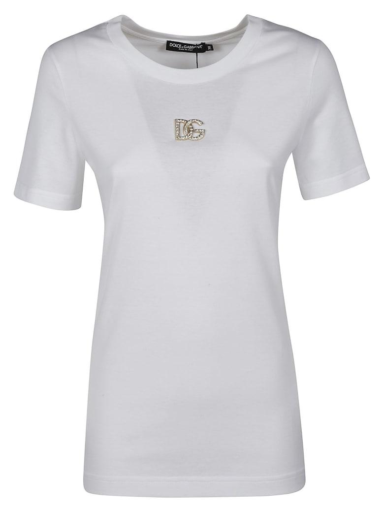 Dolce & Gabbana Crystal Logo Plaque Embellished T-shirt - Bianco