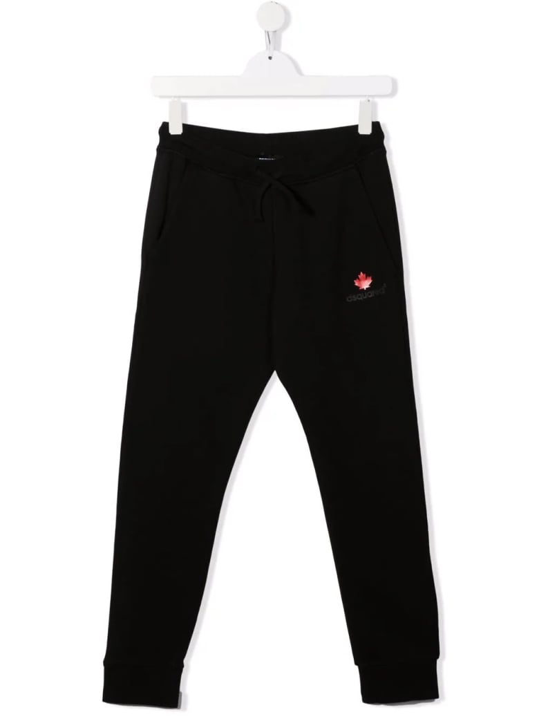 Dsquared2 Kids Black Joggers With Logo And Maple Leaf