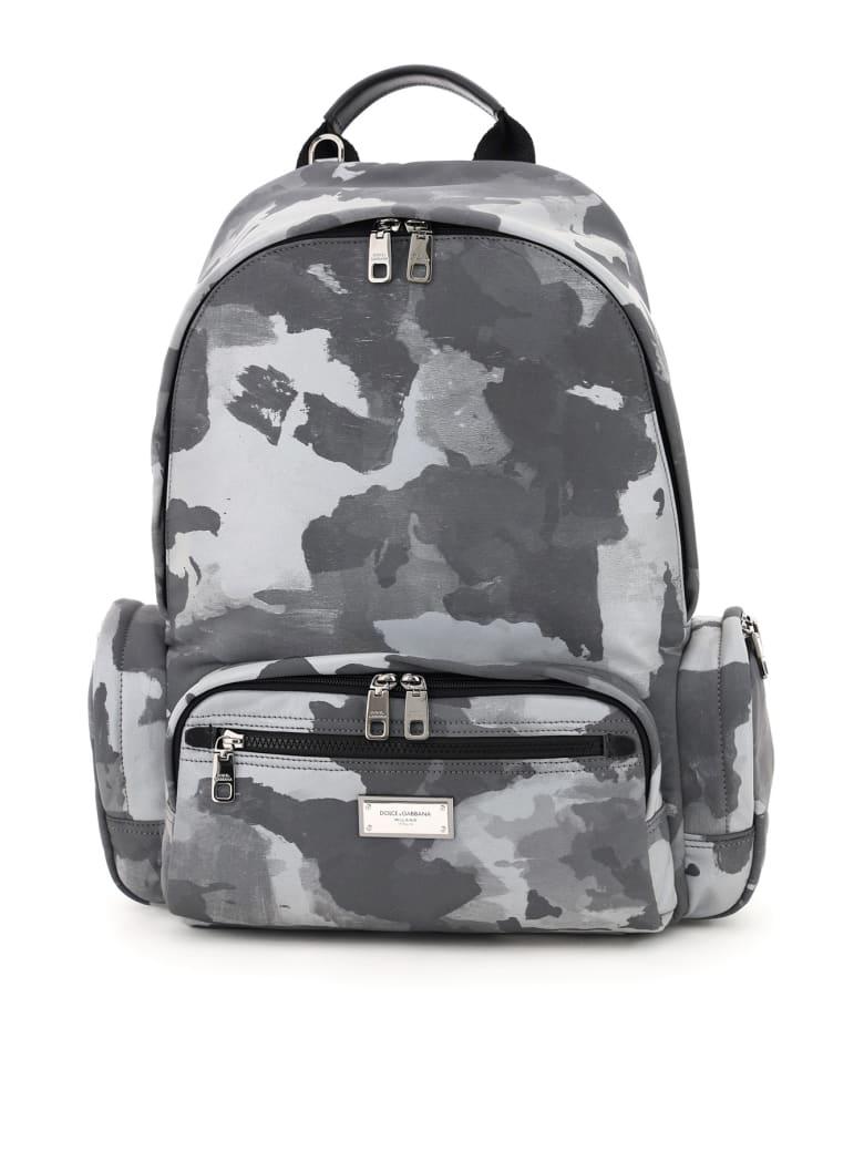 Dolce & Gabbana Reflective Camouflage Nylon Backpack - Bianco/nero