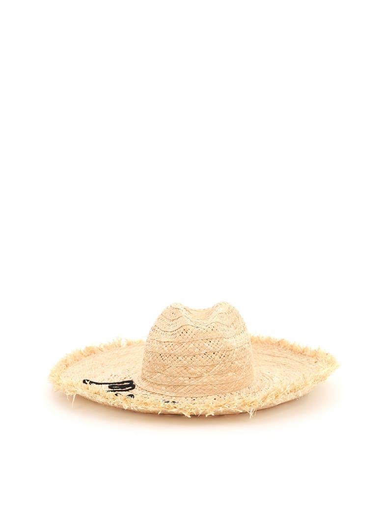 Miu Miu Straw Hat With Logo - NATURALE NERO (Beige)