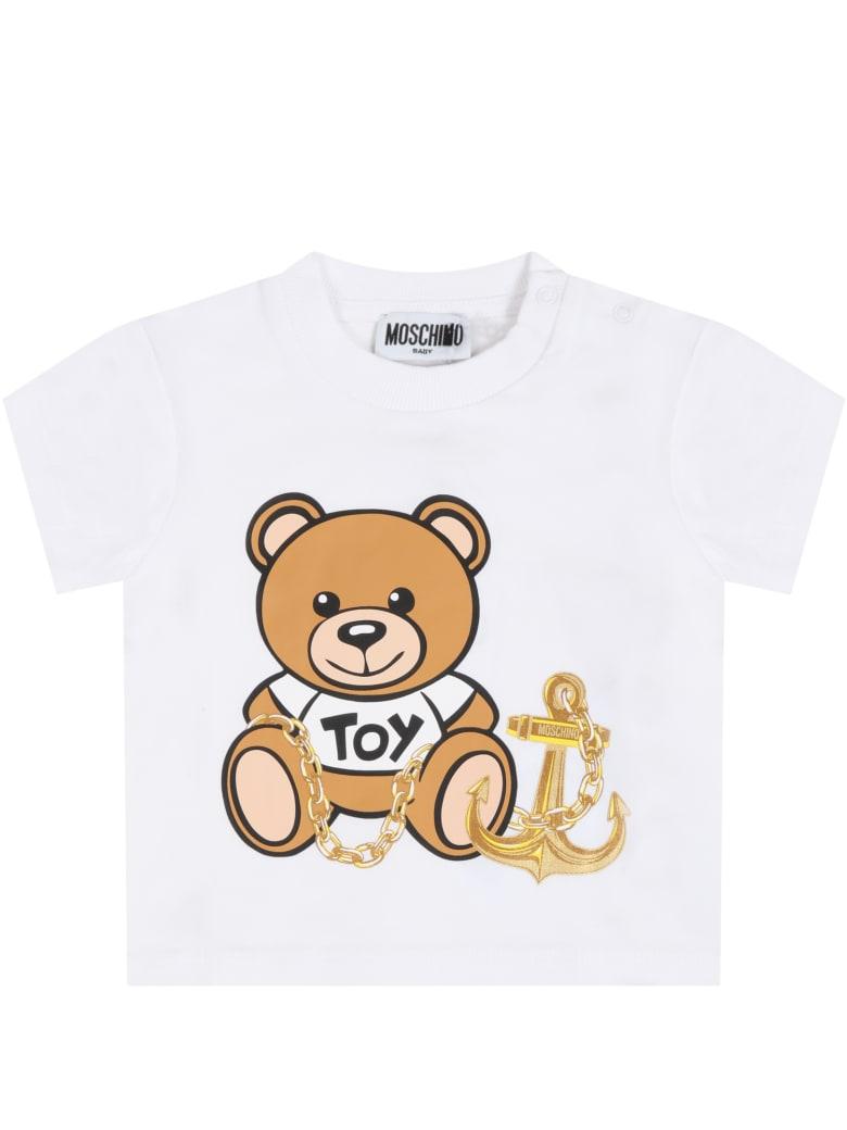 Moschino White T-shirt For Babykids With Teddy Bear - Bianco Ottico