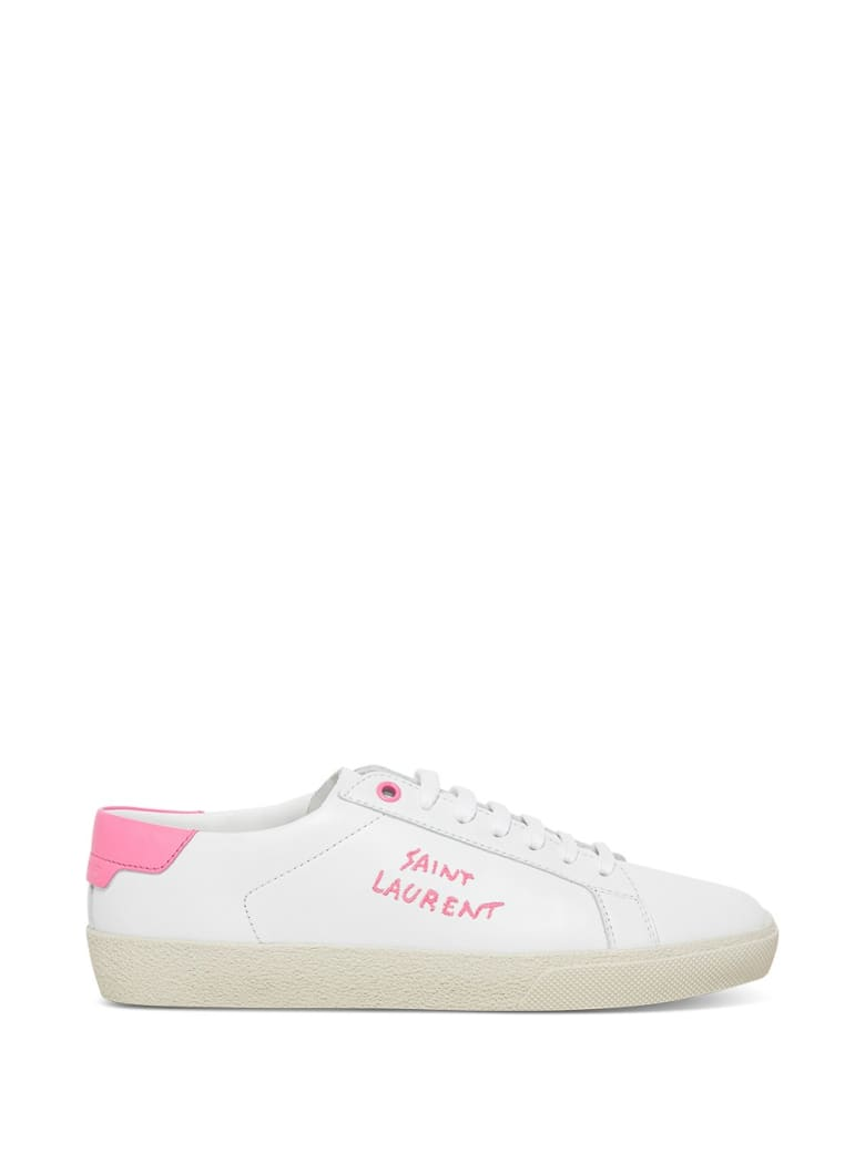 Saint Laurent Court Classic Leather Sneakers With Logo - White