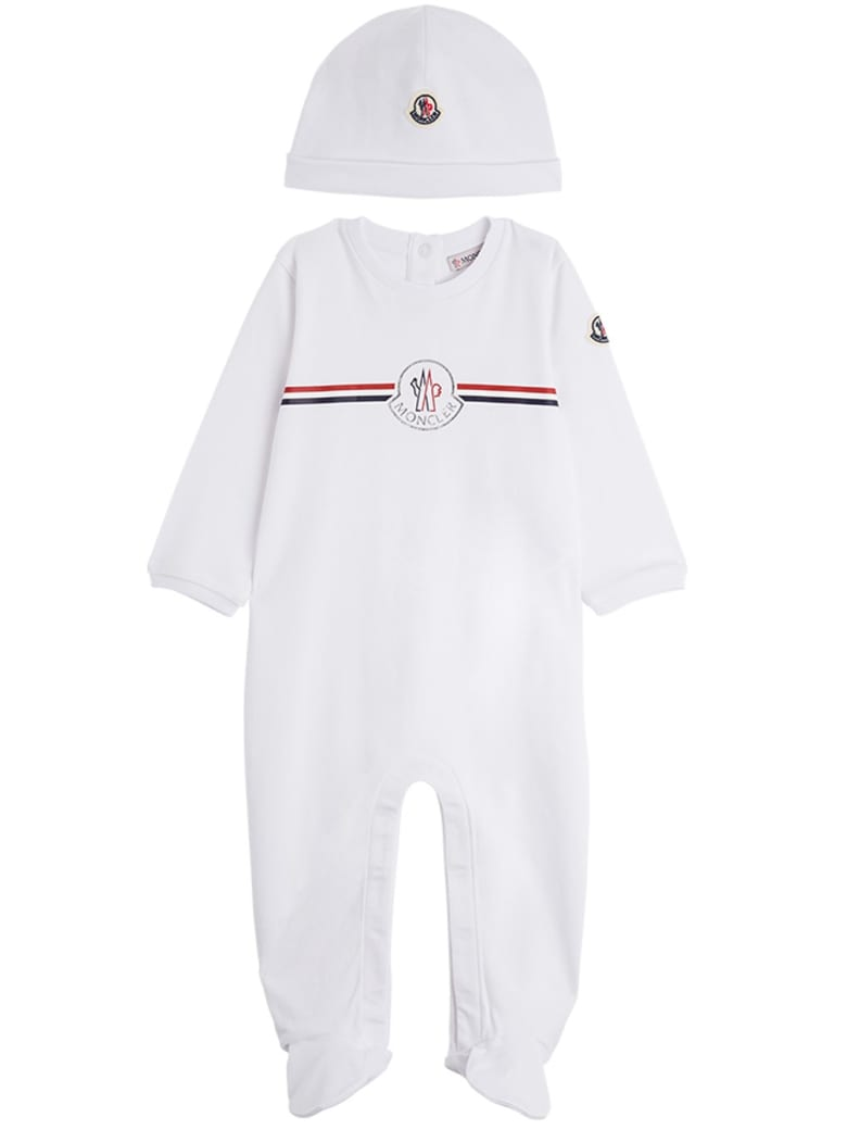 Moncler Onesie And Hat Suit  In White Jersey - White