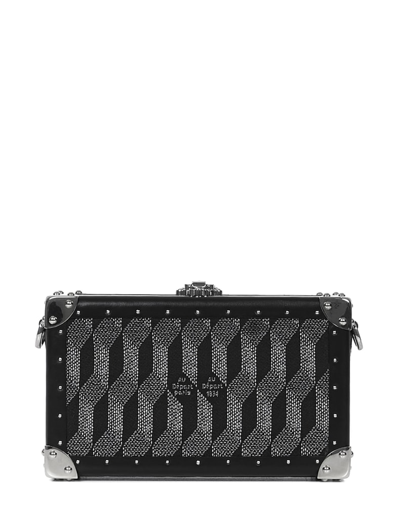 Au Départ Au Depart Paris Nano Trunk Monogram Clutch - Black