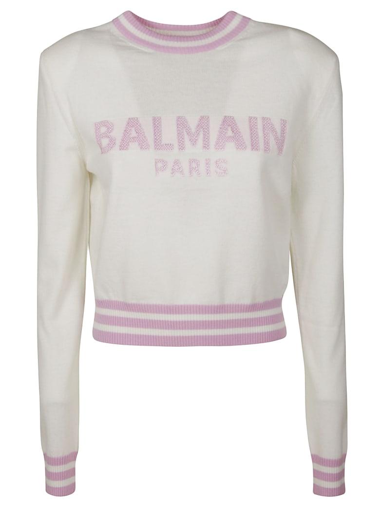 Balmain Logo Embroidered Stripe Detail Sweater - White