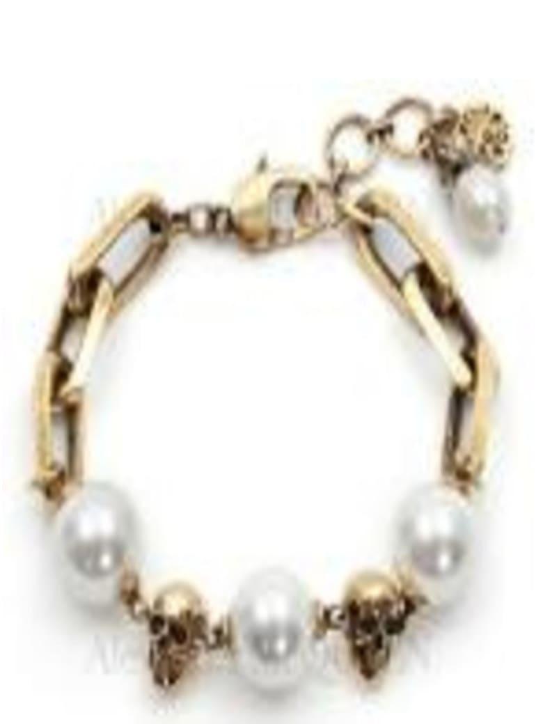 Alexander McQueen Pearl-like Skull Chain Bracelet - Metallic