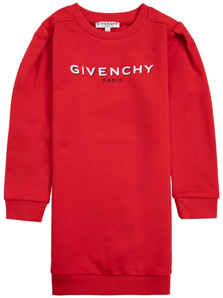 Givenchy Red Jersey Dress With Logo Print - Red