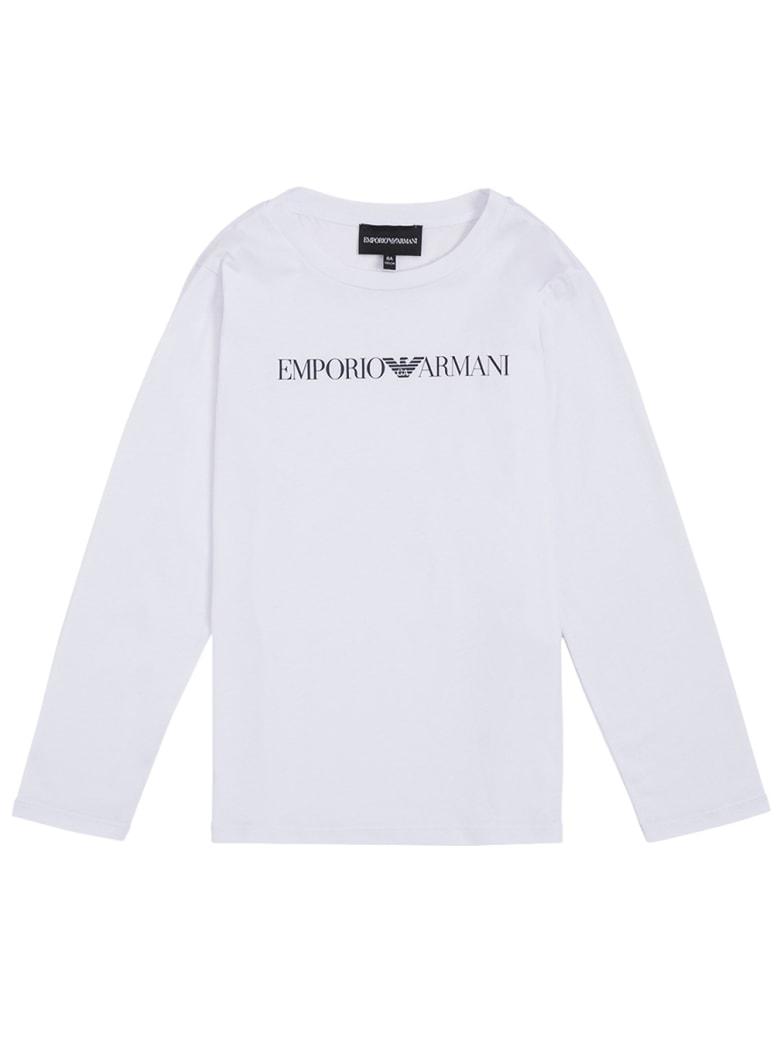 Emporio Armani Long-sleeved White Cotton T-shirt With Logo Print - White