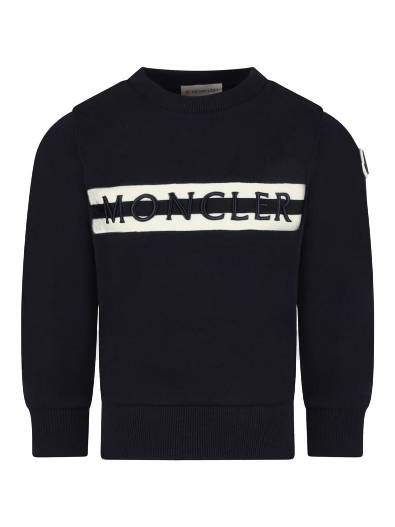 Moncler Blue Sweatshirt For Kids With Logo - Blue