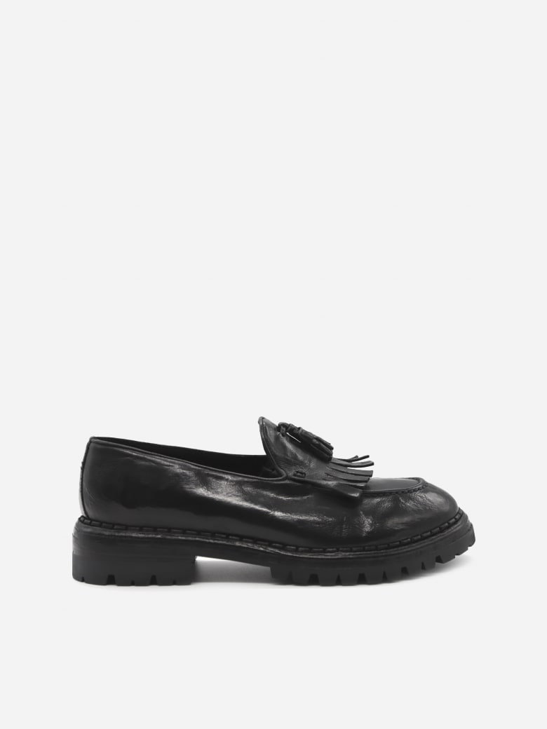 Eleventy Leather Loafers With Tassels - Black