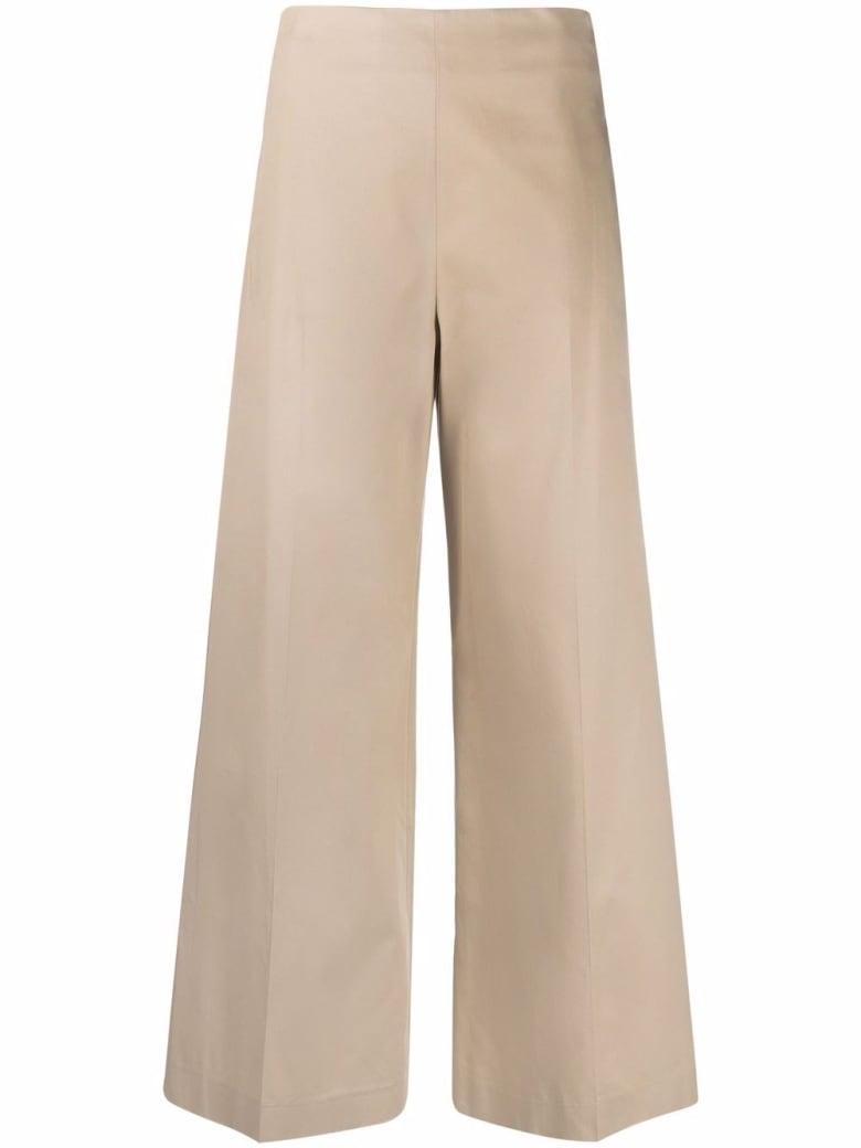 Merci Wide Leg Beige Cotton Trousers - Beige