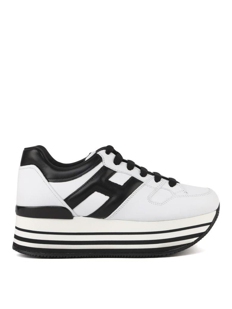 Hogan Maxi H222 White, Black Leather Sneakers | Spartanova