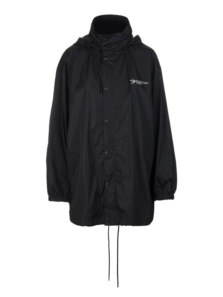 Balenciaga Man Black Wide Line Corporate Windbreaker - Black