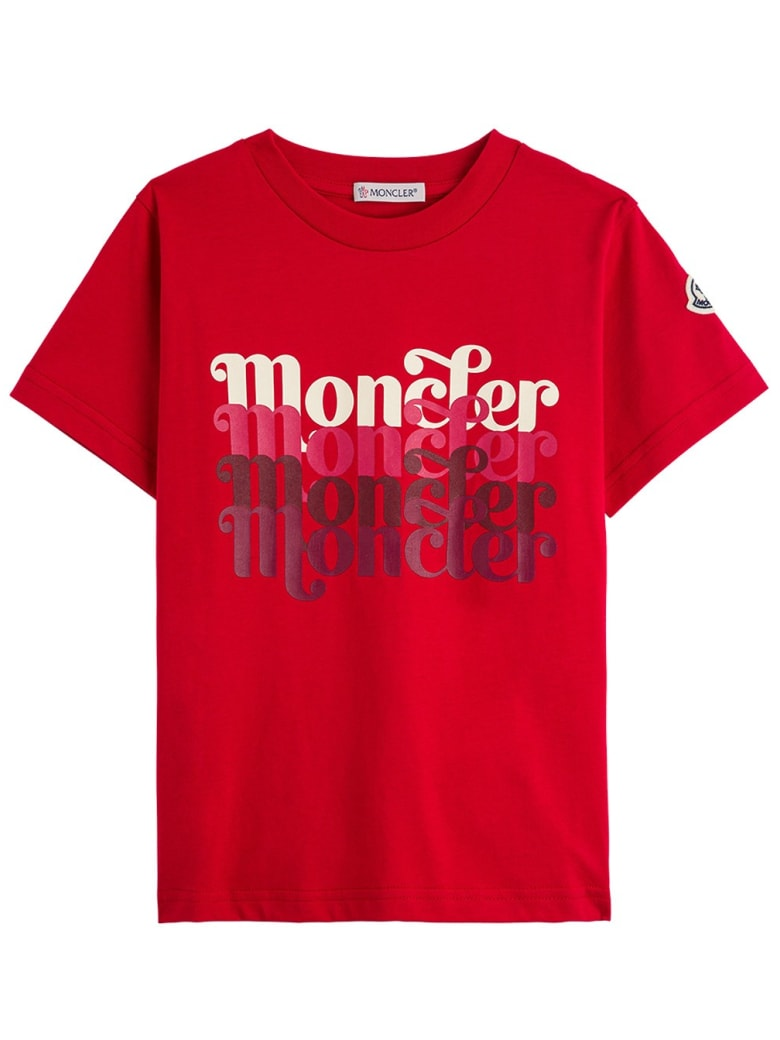 Moncler Jersey T-shirt With Logo Print - Red