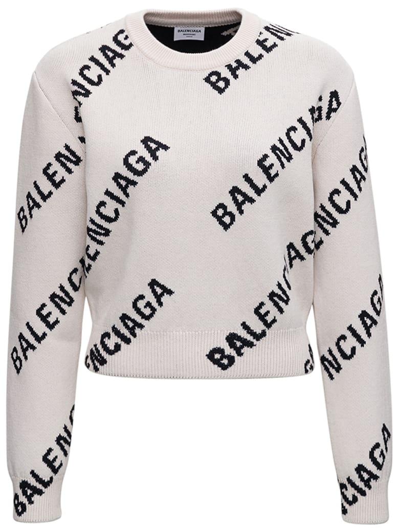 Balenciaga Cotton Crop Sweater With Allover Logo Print - White