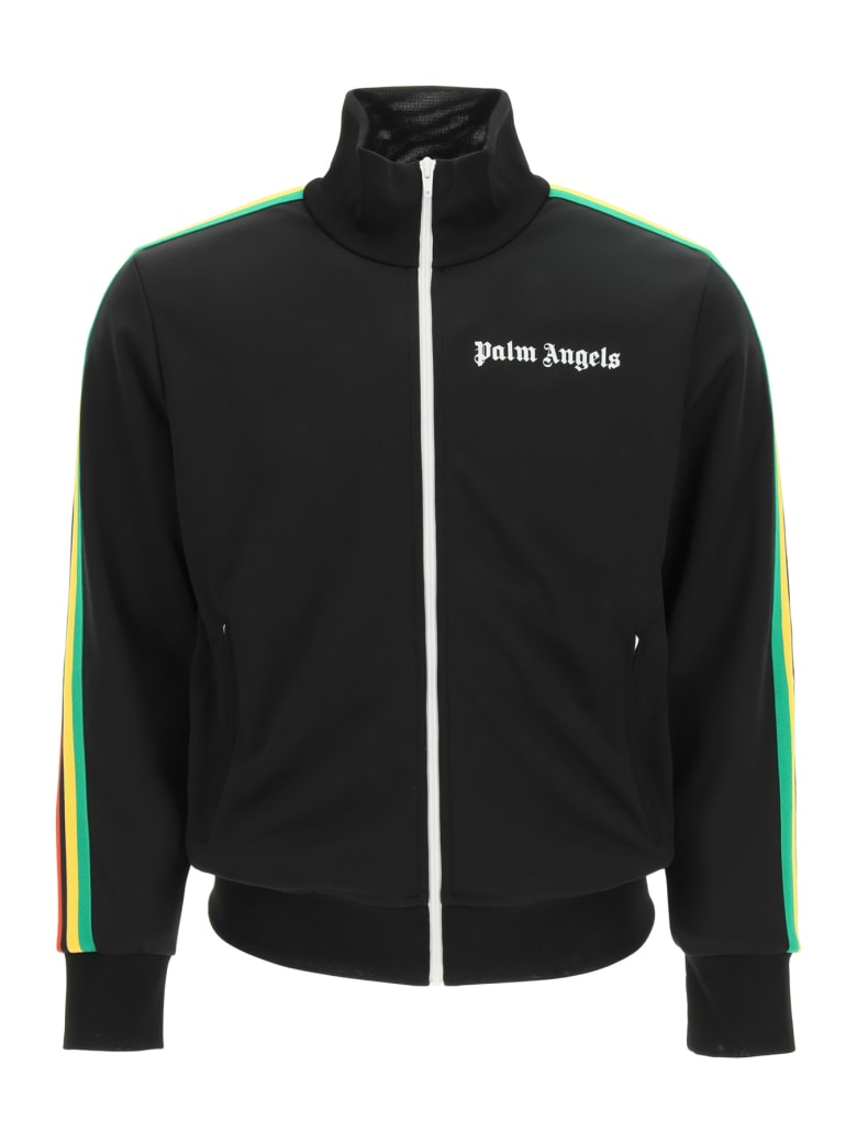 Palm Angels Zip-up Sweatshirt With Bands - Black White