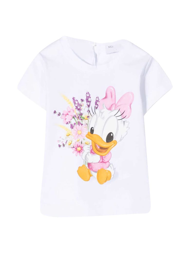 Monnalisa White T-shirt With Mullticolor Print - Bianco