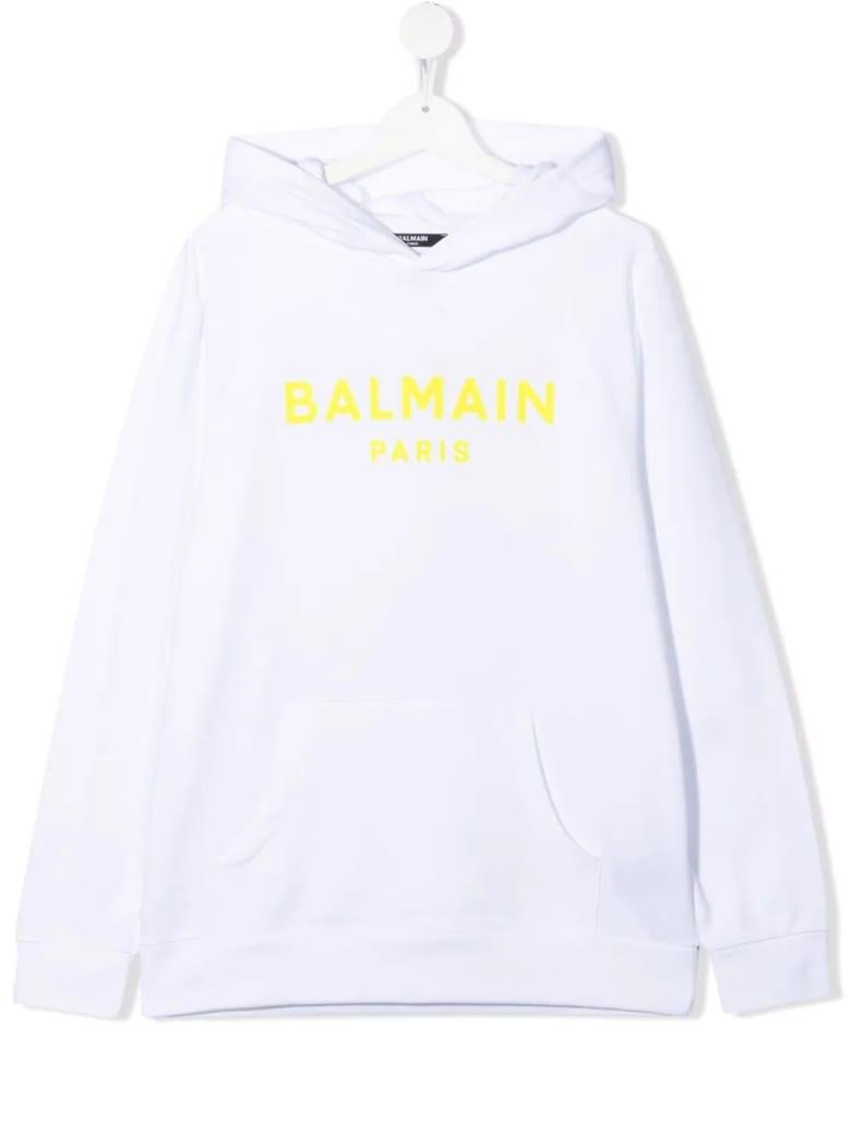 Balmain Kids White Hoodie With Yellow Velvet Logo