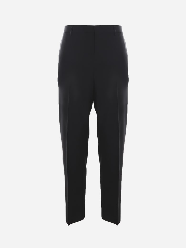 Valentino Basic Trousers Made Of Wool And Mohair - Black