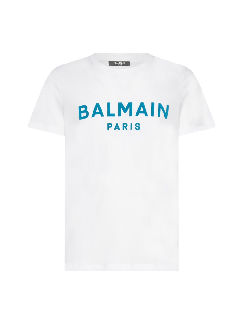 Balmain T-Shirt - Blanc bleu caraibe