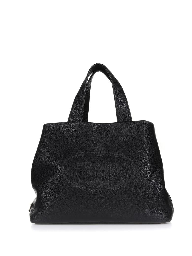 Prada Shopper In Black Leather - NERO
