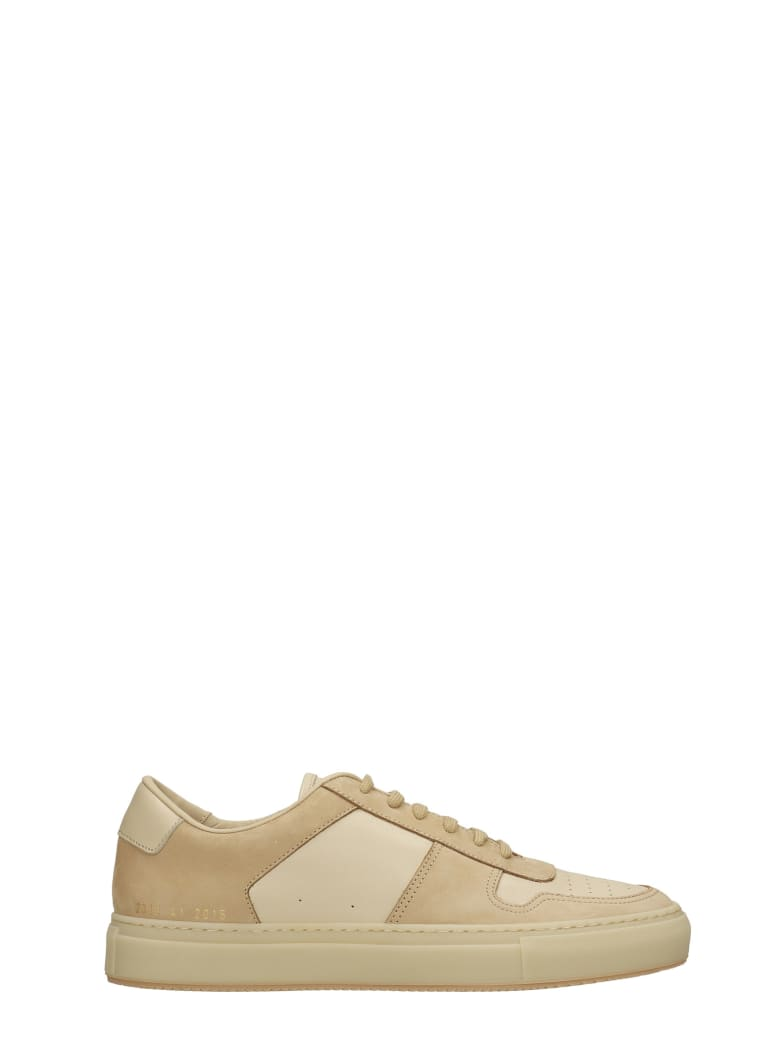 Common Projects Bball Low Sneakers In Powder Leather And Fabric - powder