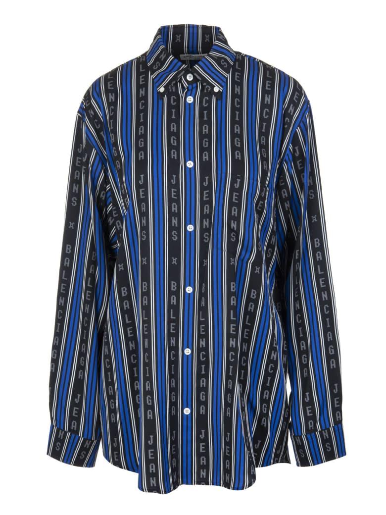 Balenciaga Black And Blue Large Fit Shirt - Black/blue