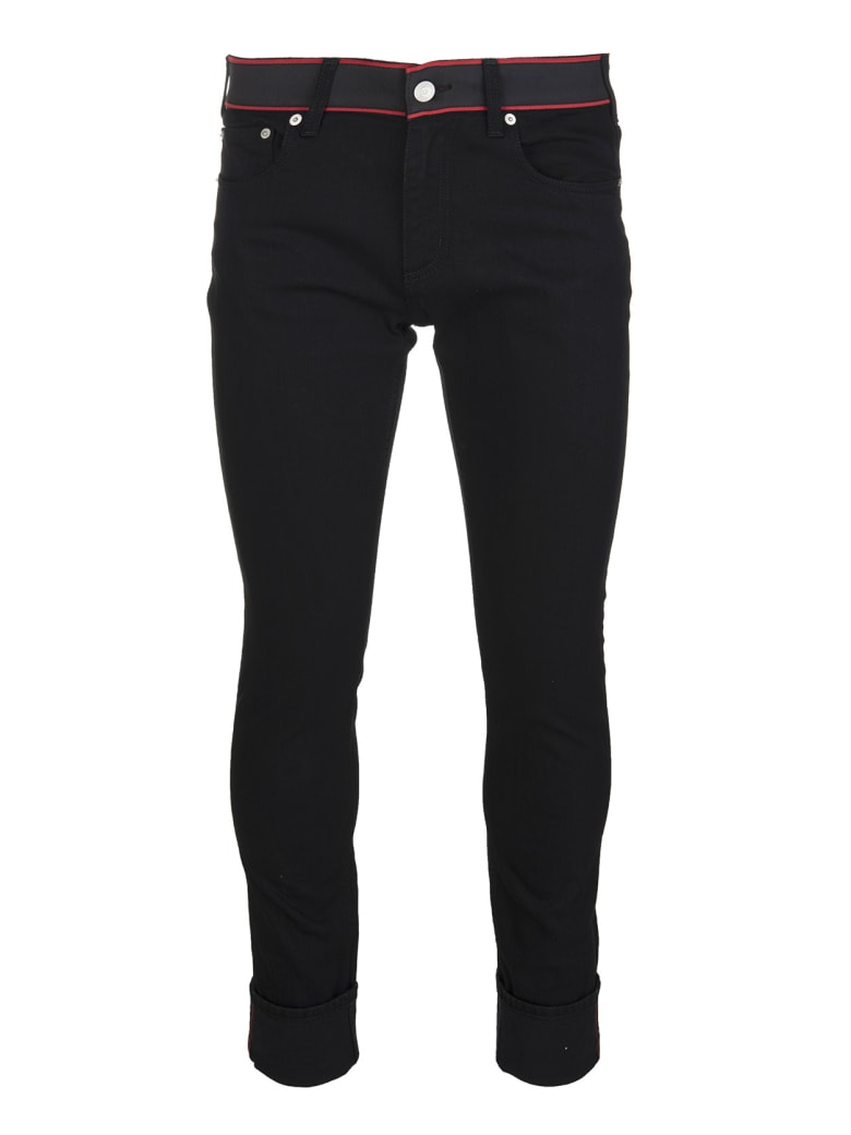 Alexander McQueen Man Black Jeans With Logo Band - Black