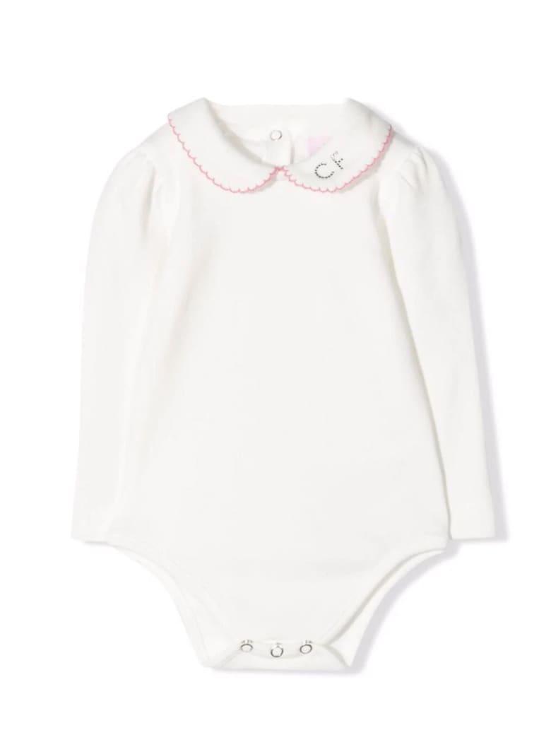 Chiara Ferragni Cream And Light Pink Cotton Body - Bianco+rosa