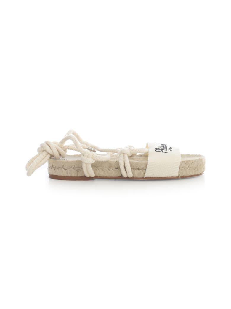 Philosophy x Manebí Canvas Slave Sandals W/philosophy Laces - White
