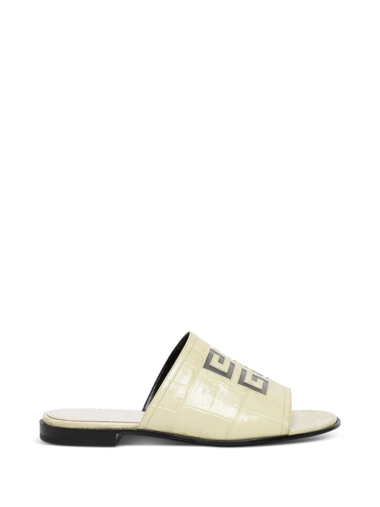 Givenchy 4g Slide Sandals In Beige Leather With Logo - White