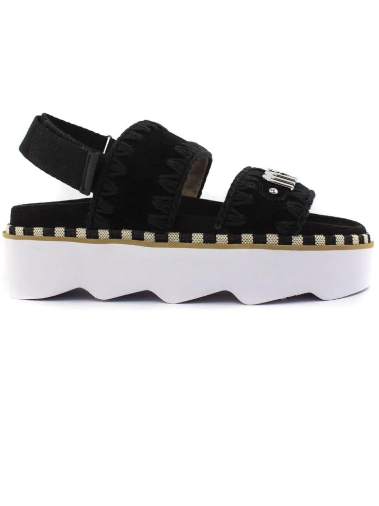 Mou Black Leather Sandal - Nero