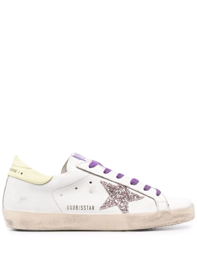 Golden Goose Woman White Super-star Sneakers With Glitter Star, Purple Laces And Light Yellow Spoiler