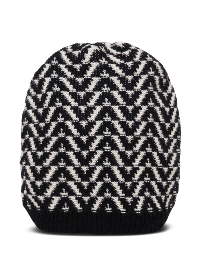 Valentino Garavani Optical Beanie Wool Hat - White