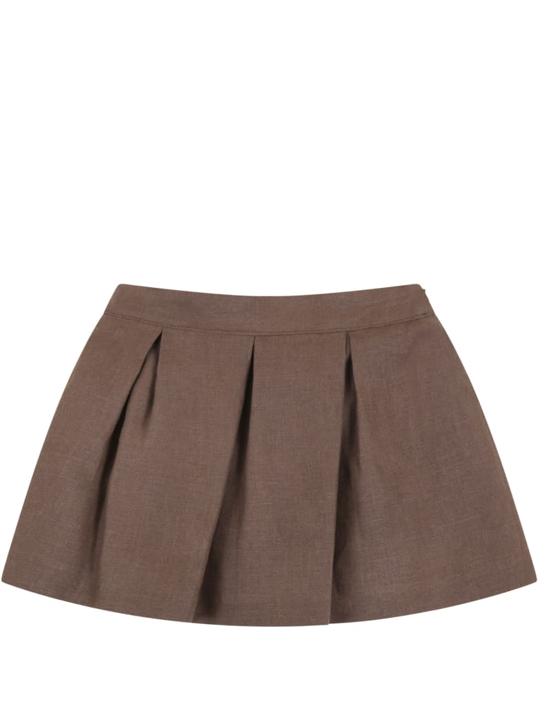 Little Bear Brown Skirt For Baby Girl - Brown