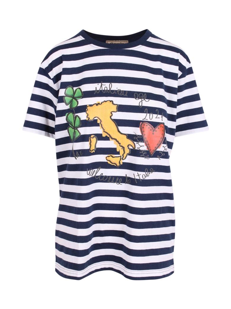 Alessandro Enriquez 'italian Age 2021' Cotton T-shirt - Blue Stripes