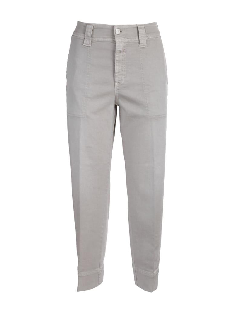 Closed Cotton Jeans. High Waist - Beige