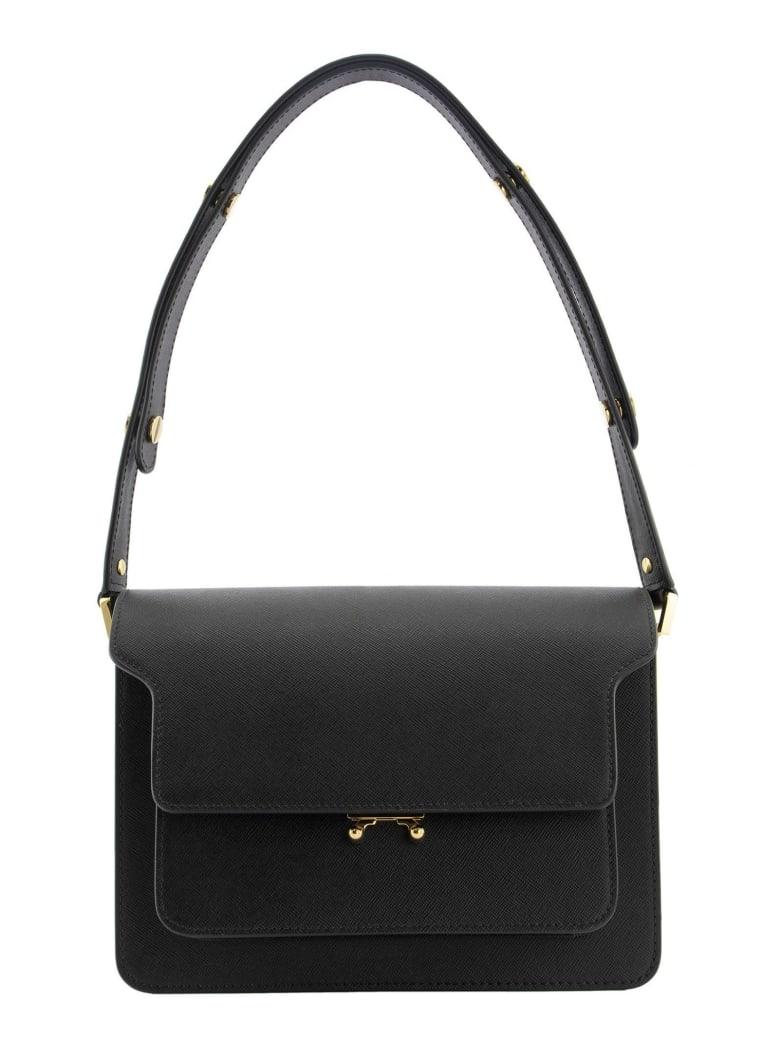 Marni Trunk Bag In Saffiano Calf - Black