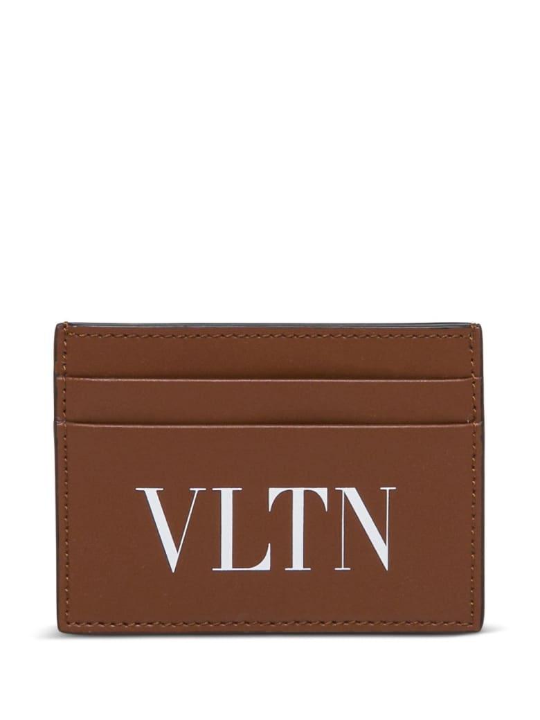 Valentino Garavani Vltn Card Holder In Brown Leather - Brown