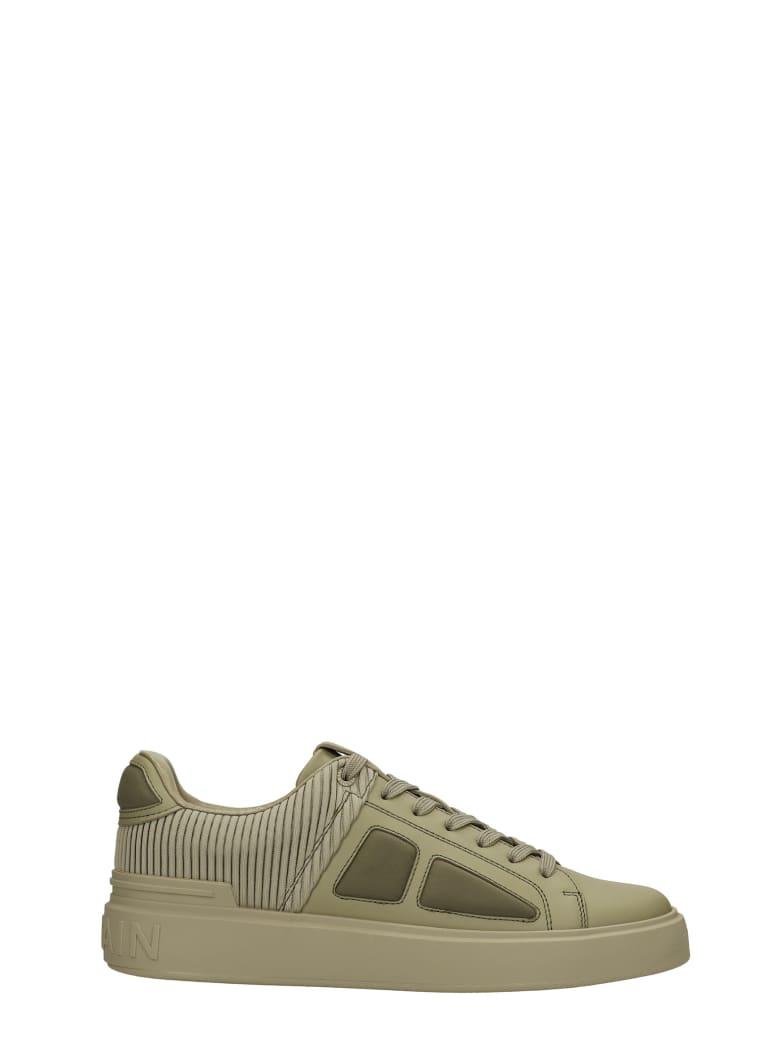 Balmain B-court Sneakers In Khaki Leather - khaki
